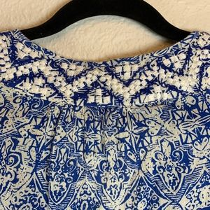 Lucky Brand Tops - Lucky Brand Blue and White Boho Blouse